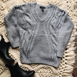 (F21) Chunky cable knit blue grey v-neck sweater
